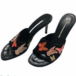Donald J Pliner butterfly embroidered slide heel
